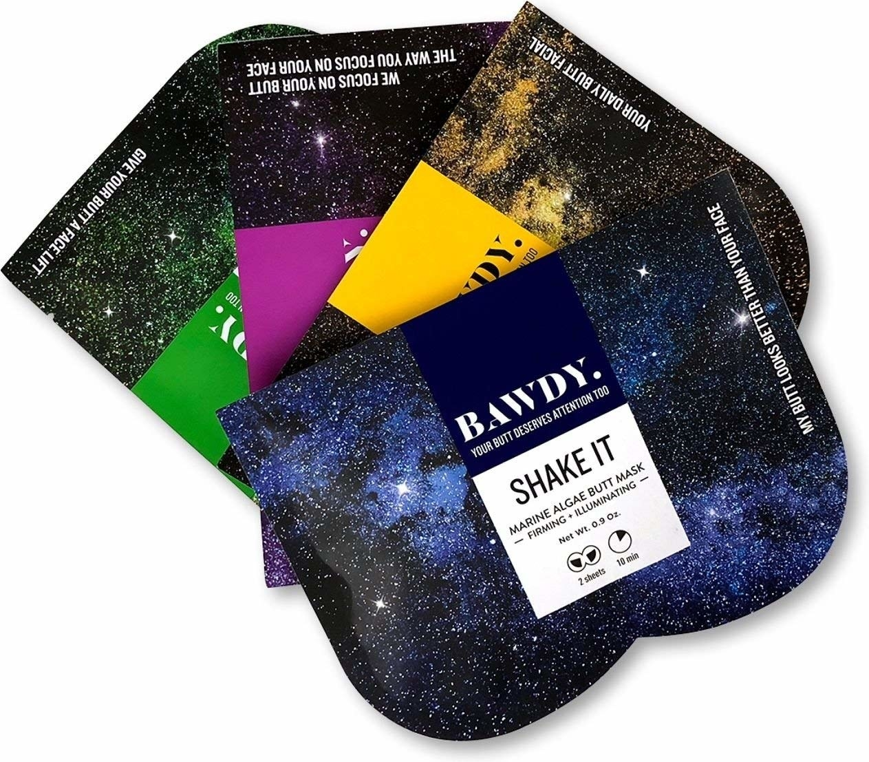The four masks with galaxy packaging