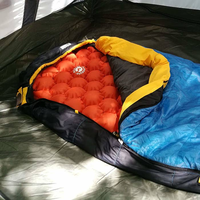 A sleeping pad inside of a sleeping bag