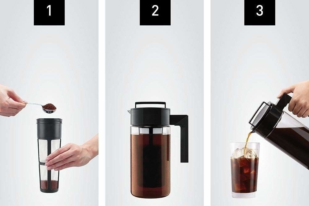 Scooping the coffee grounds into the filter, brewing the coffee in the pitcher, then pouring out the finished coffee over ice