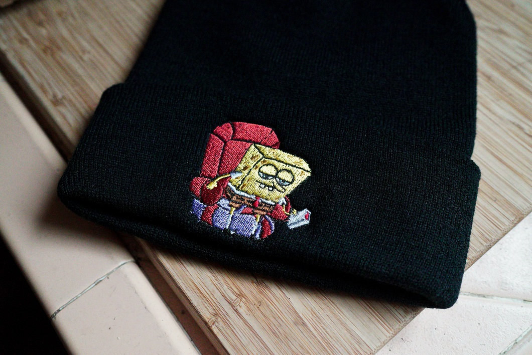 beanie with spongebob sitting up from a chair