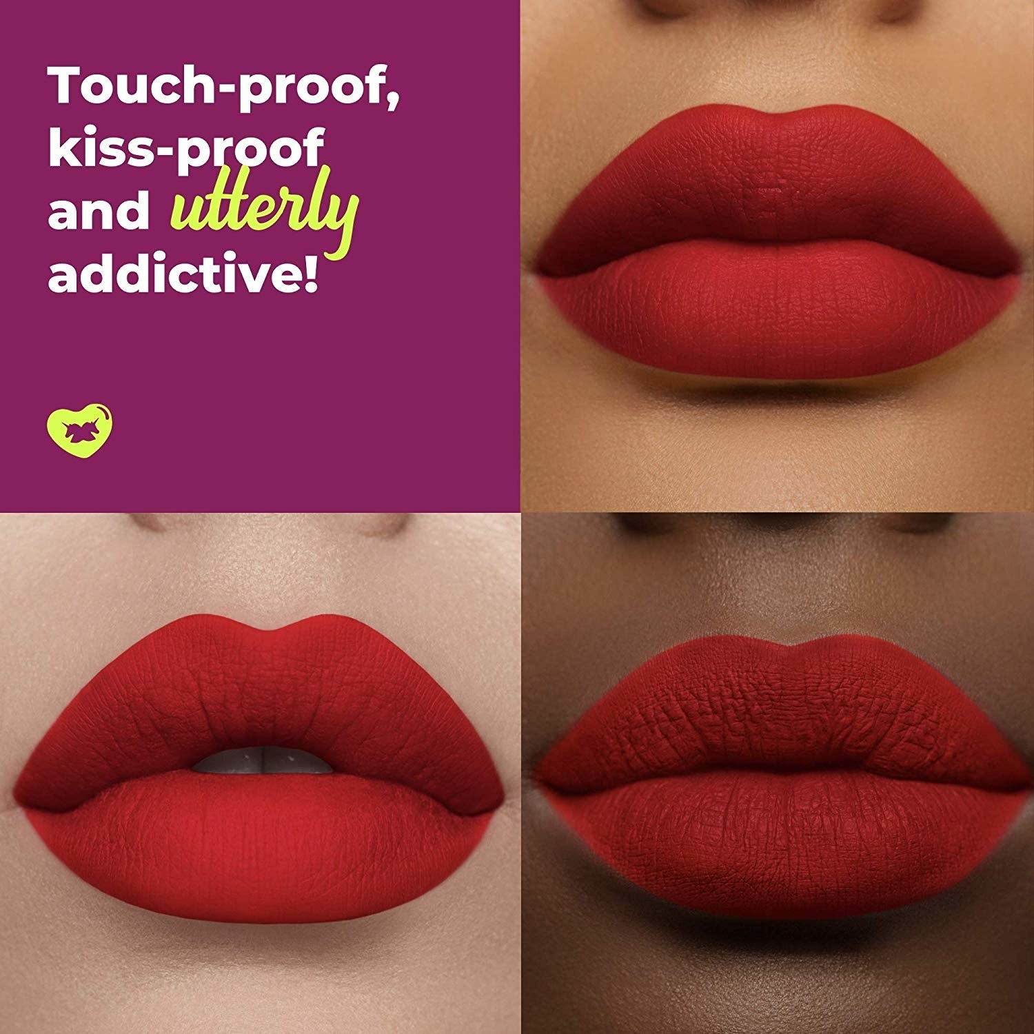 Lips with different skin tones all wearing the red lipstick