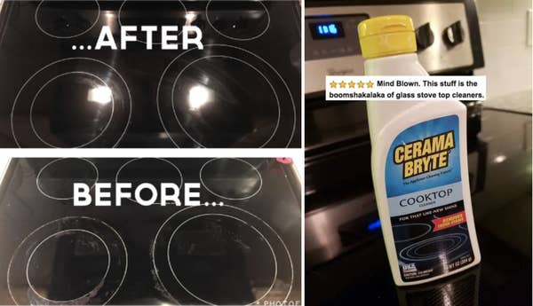 """Left: A before/after of a dirty and clean electric cooktop / right: The bottle of cleaner, with five stars and review text """"Mind blown. This stuff is the boomshakalaka of glass stove top cleaners"""""""