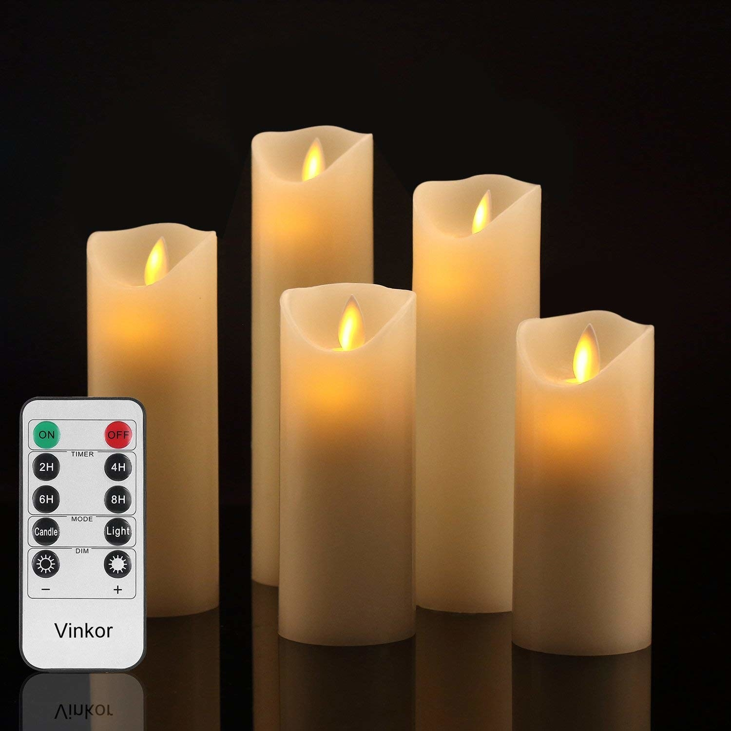 The five different height candles and remote