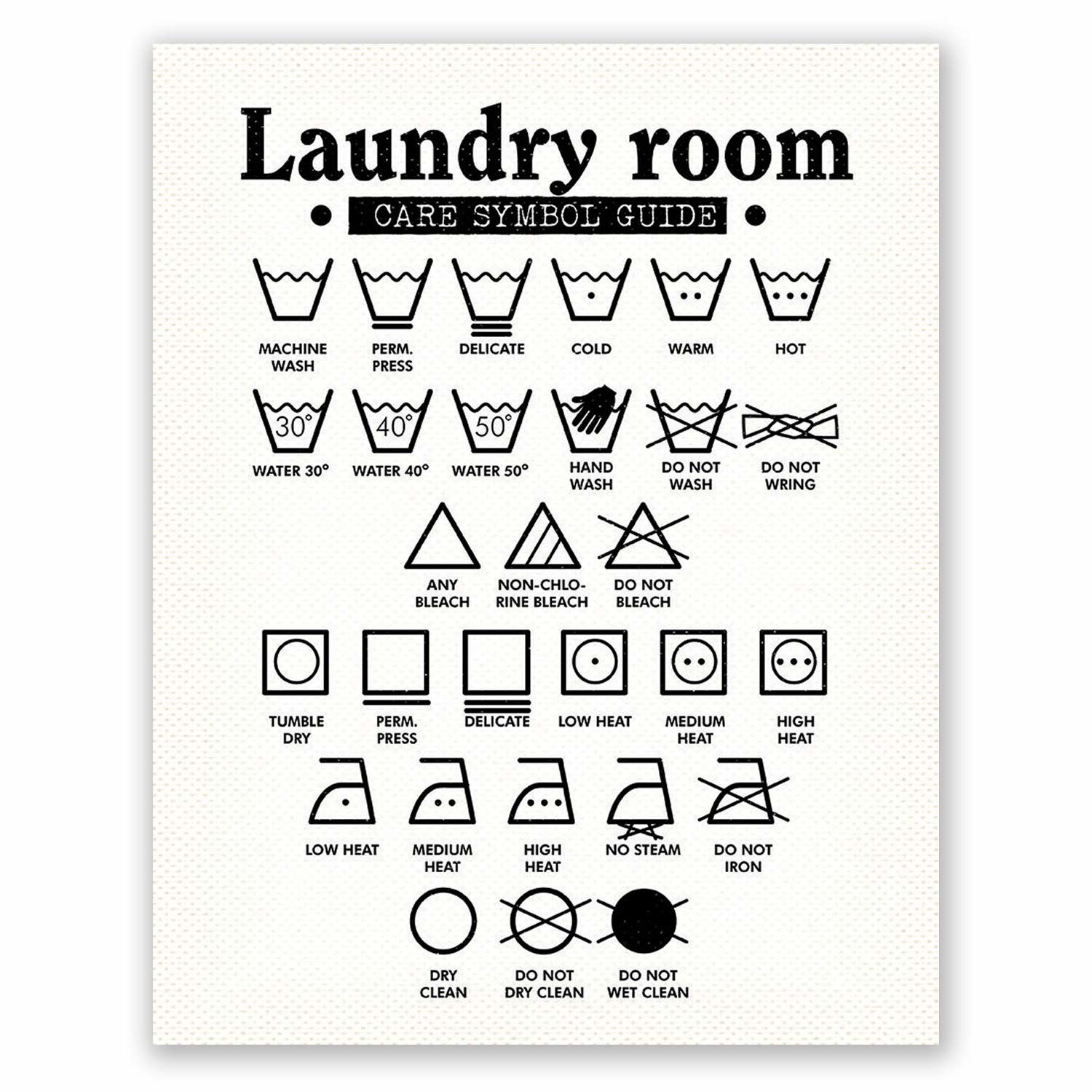 The symbol guide with a variety of different laundry symbols and what they mean