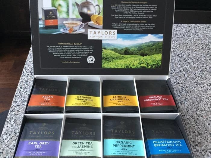 the box of tea with eight different flavors