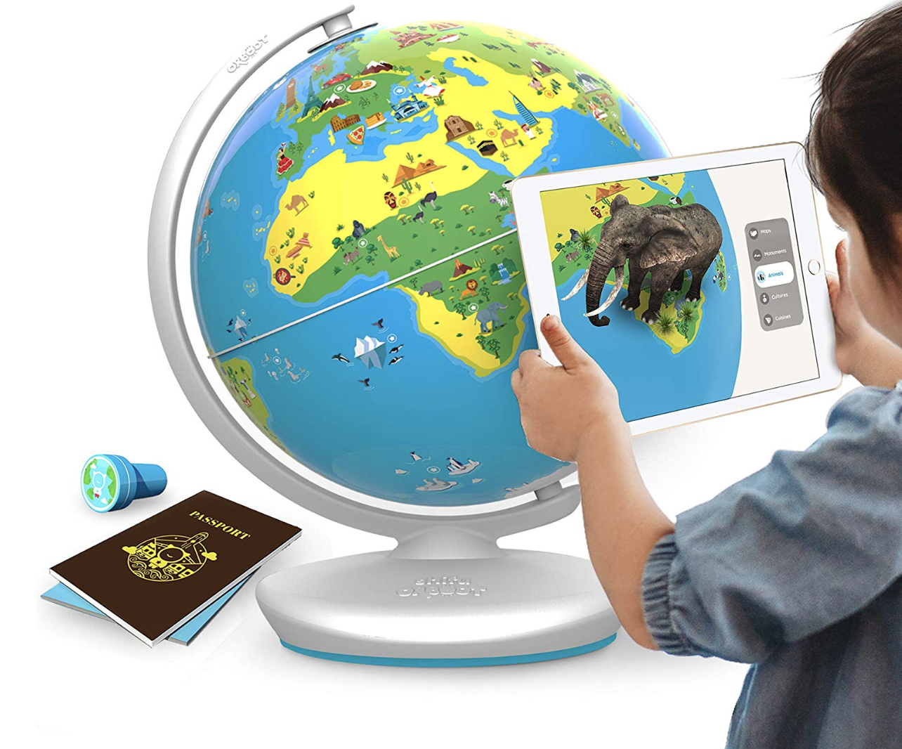 A model scanning the globe with an iPad which is displaying an elephant