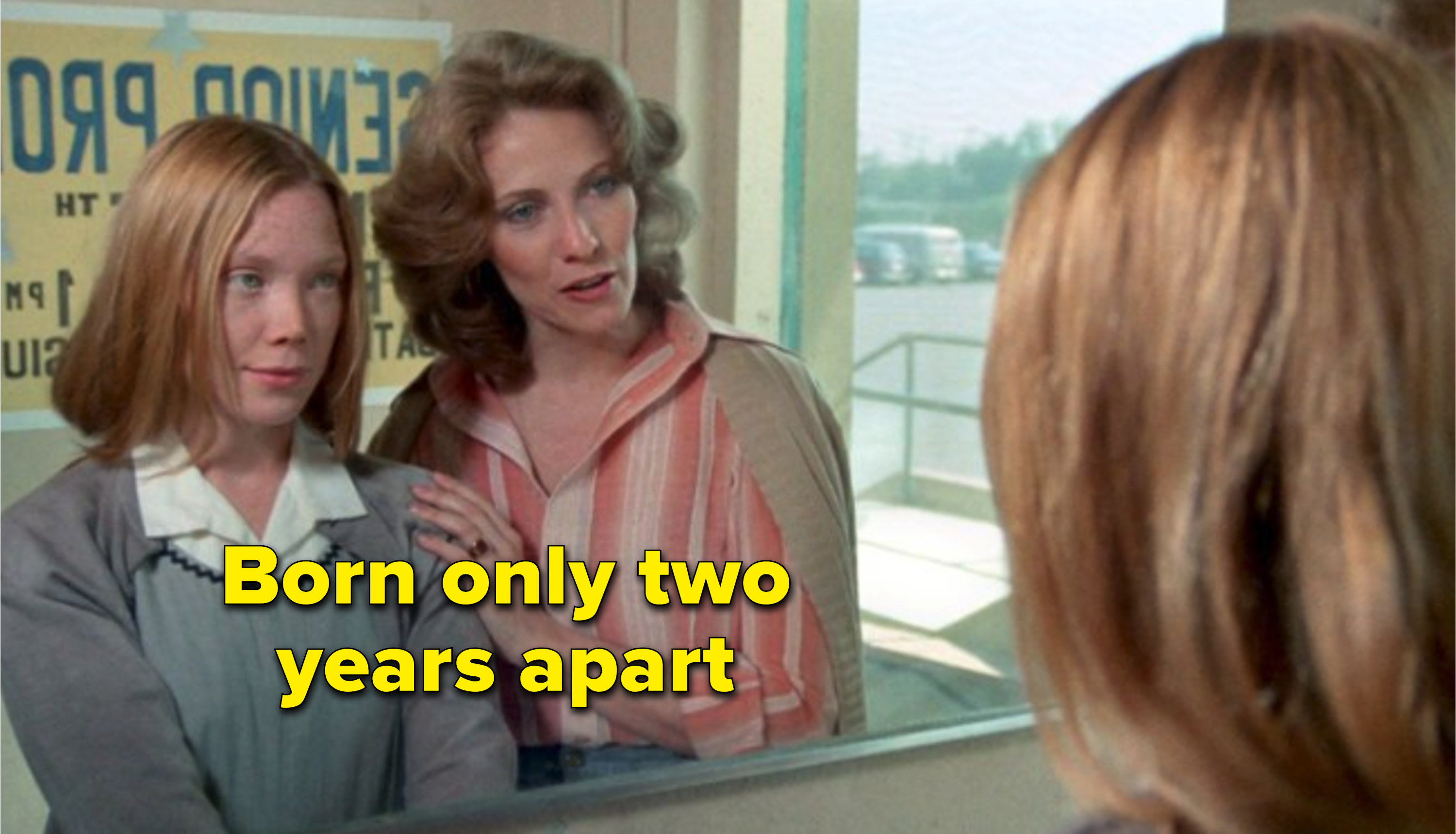 Sissy Spacek and Betty Buckley in a scene in front of a mirror