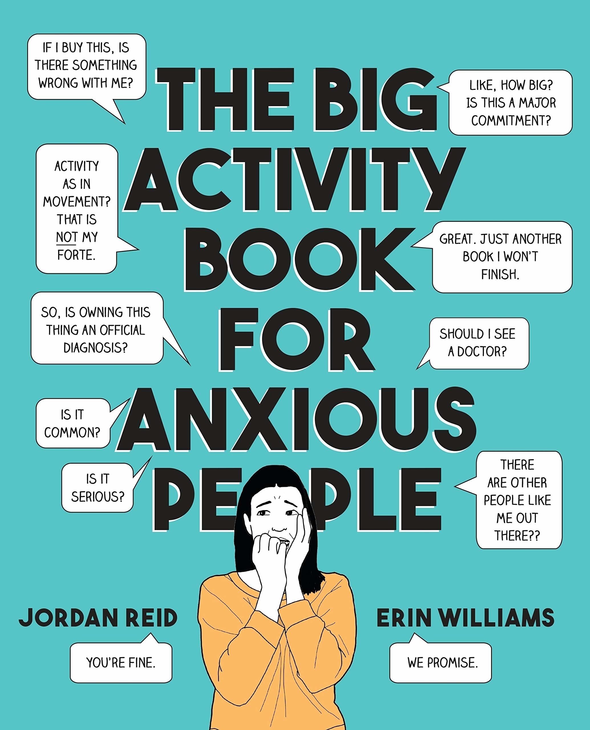 The cover of the book which depicts a woman having anxious thoughts through word bubbles