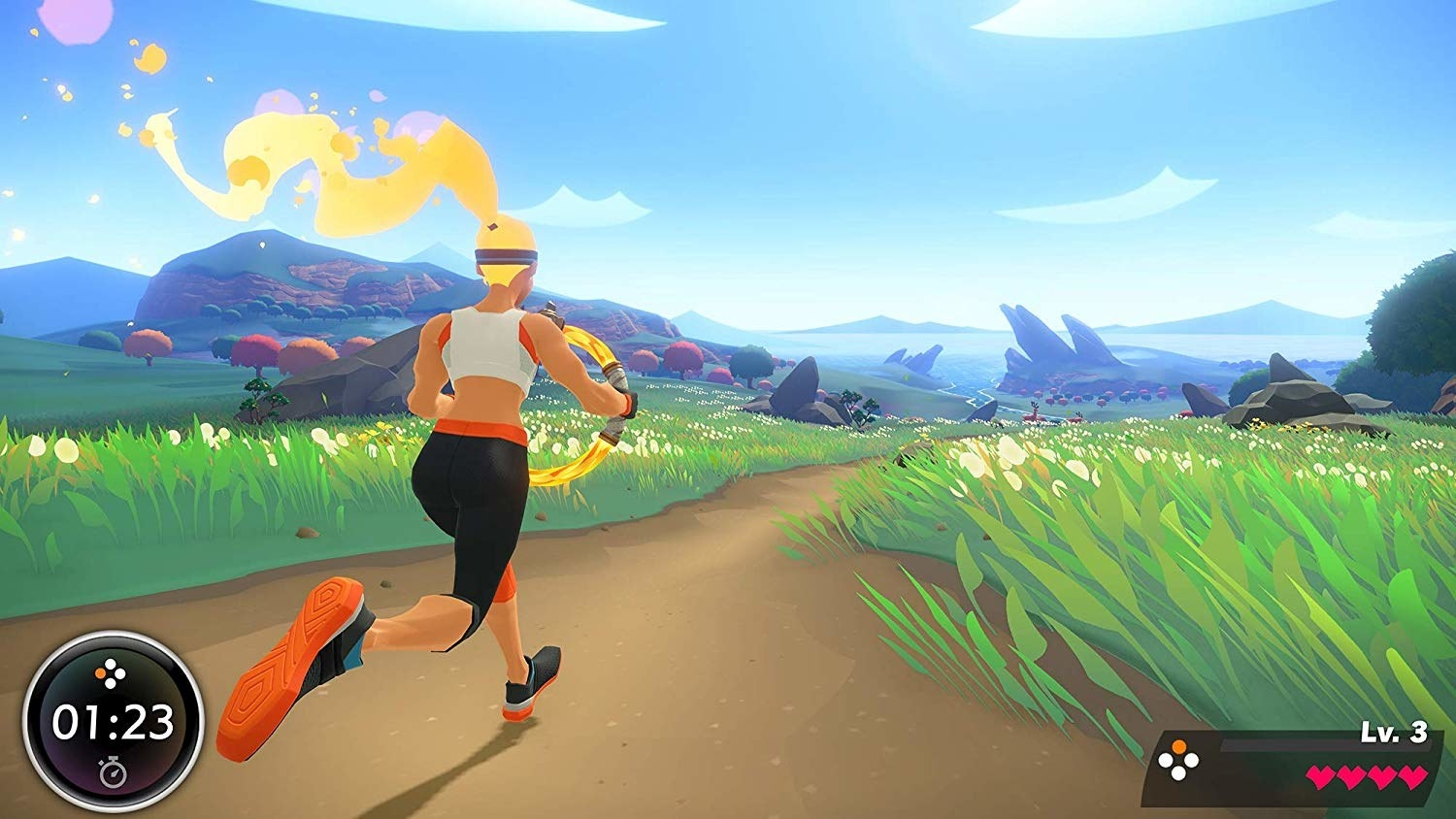 The game's avatar running down a cartoon path
