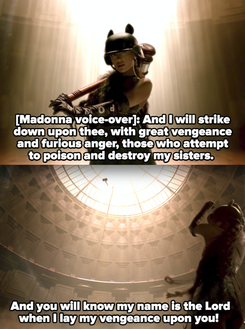 """Ariana Grande in the """"God is a Woman"""" music video, with Madonna's voiceover: """"And I will strike down upon thee, with great vengeance and furious anger, those who attempt to poison and destroy my sisters"""""""