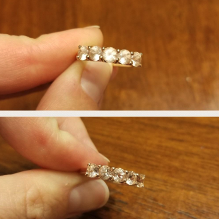 another reviewer's before and after picture of a ring with multiple stones cleaned by the pen