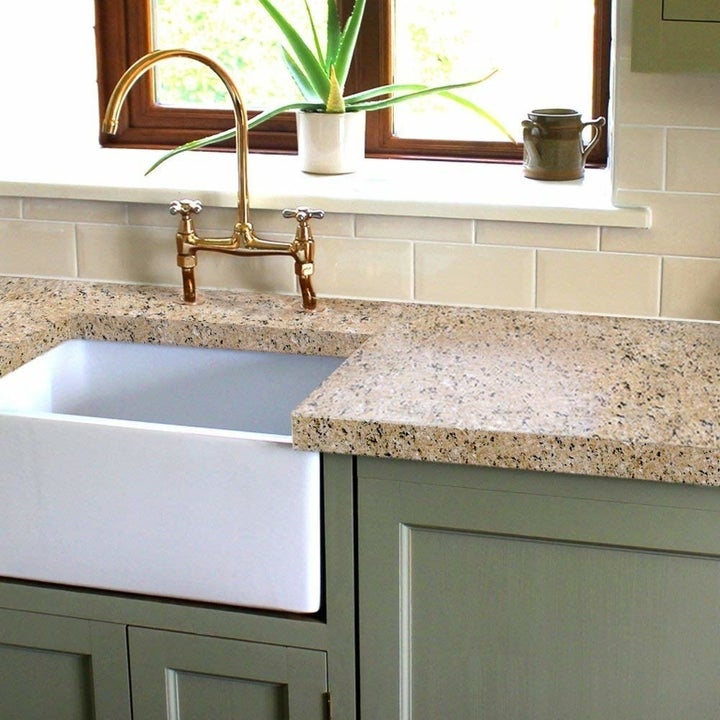 A countertop redo in a taupe granite-look