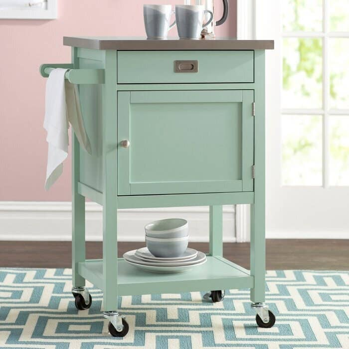 The mint colored cart