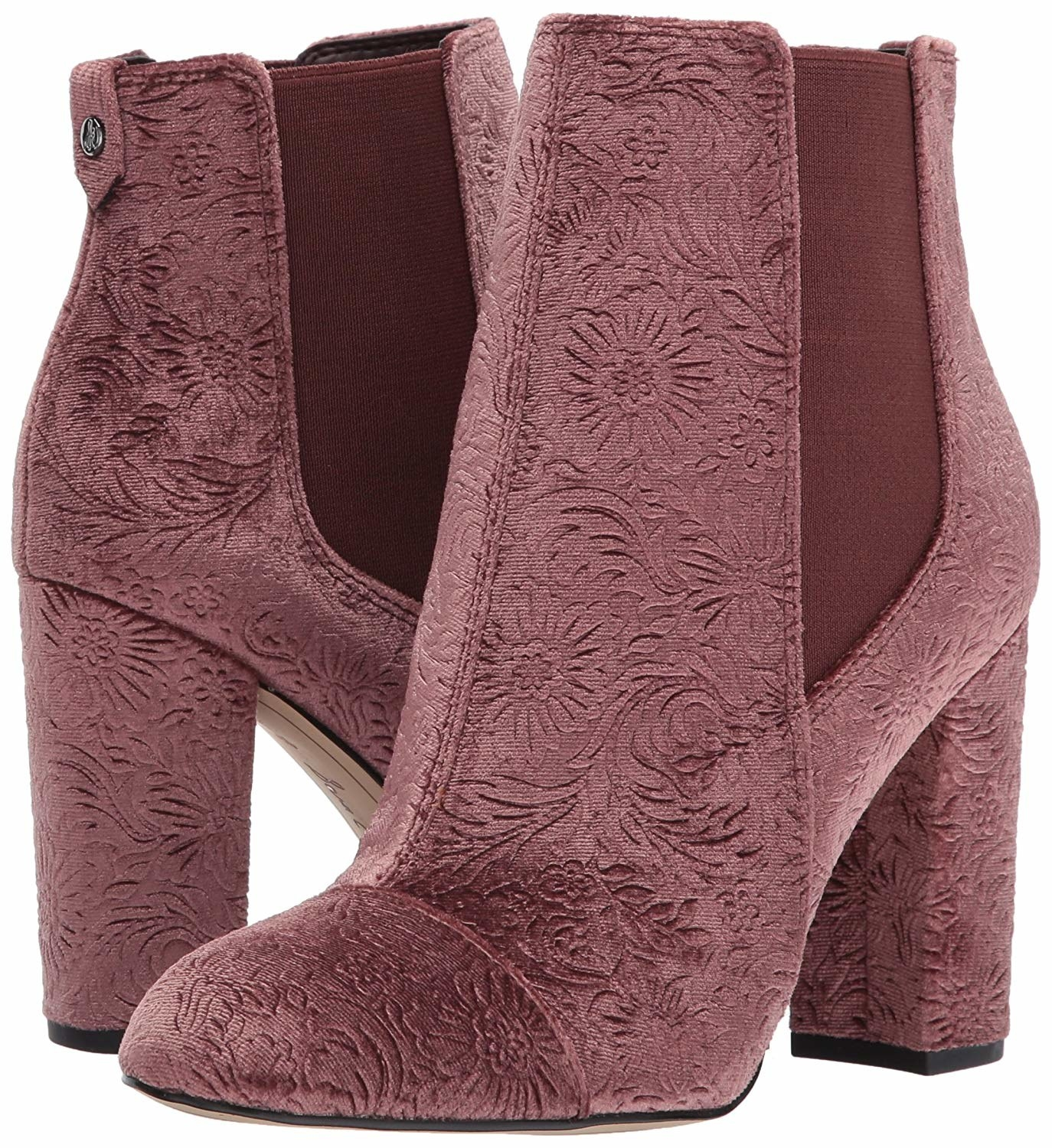 High-heel boots with elastic on either side and mauve velvet fabric with embossed flower details all over