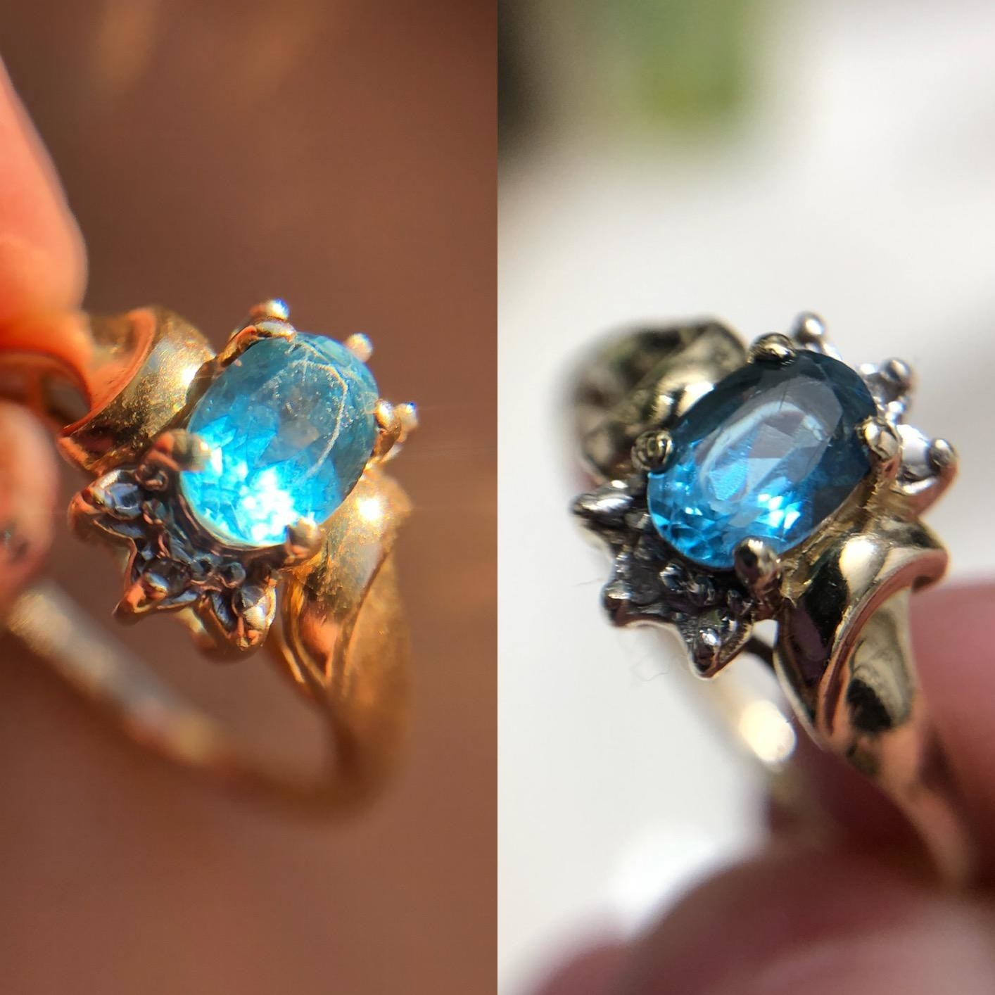 A split image with a ring with a dull blue gem on the left side and the same ring on the right side where the gem is clear and clean.
