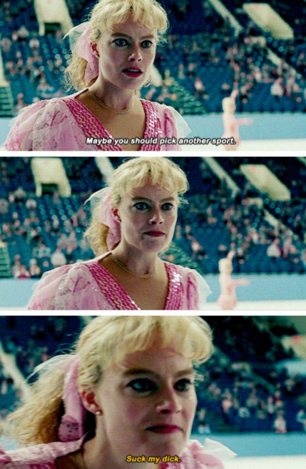 """Margot in a pink skating dress on the rink in """"I, Tonya"""""""
