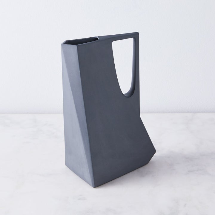 the pitcher with sharp corners and edges in blue