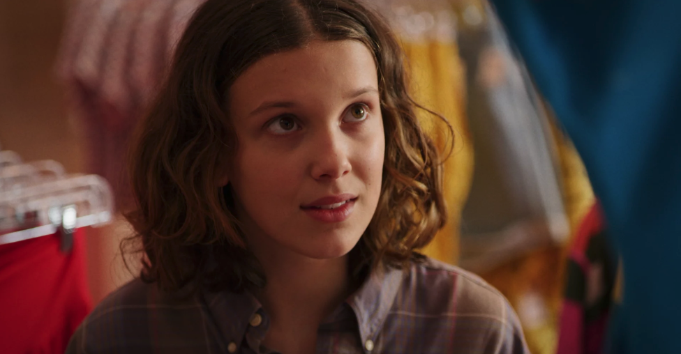 """Millie in """"Stranger Things"""" in an '80s outfit"""