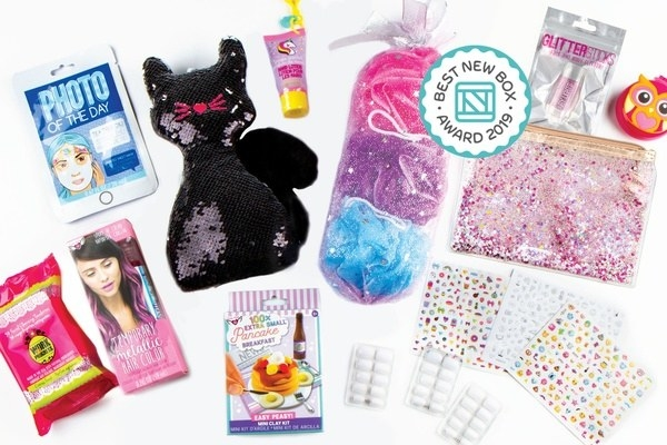 A sequin cat doll, colorful bath products, sticker sheets, and other featured items