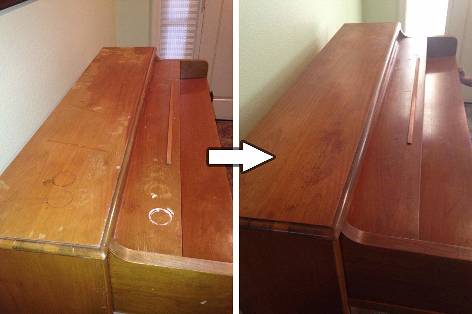 A piano with water rings and scratches on it and a piano that has been cleaned with the wood-restoring solution