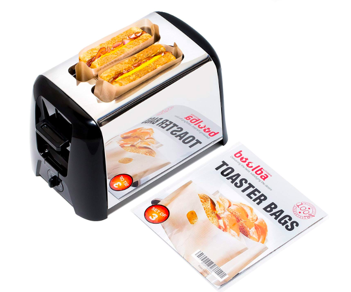A pack of toaster bags next to a toaster