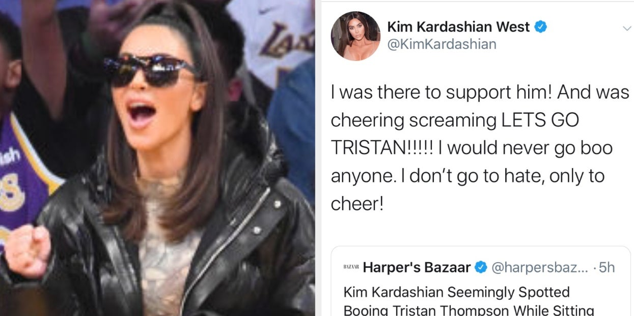Kim Kardashian Denied Booing Tristan Thompson At A Lakers Game After An Alleged Video Of It Surfaced Online