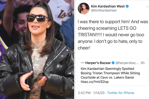 Kim Kardashian Was Accused Of Booing Tristan Thompson At A Lakers Game And Tweeted Her Response