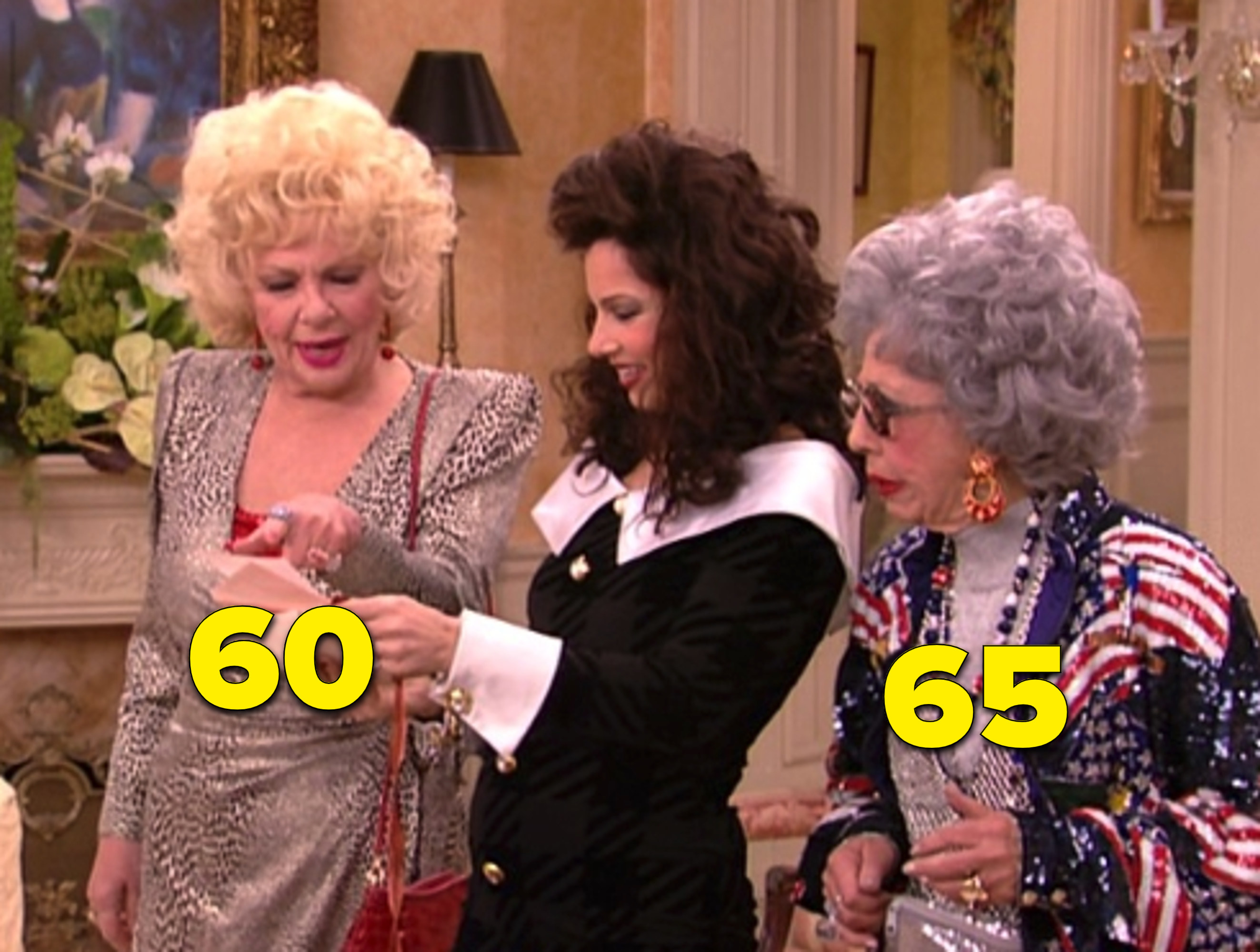 "The two characters with Fran in the living room in ""The Nanny"""