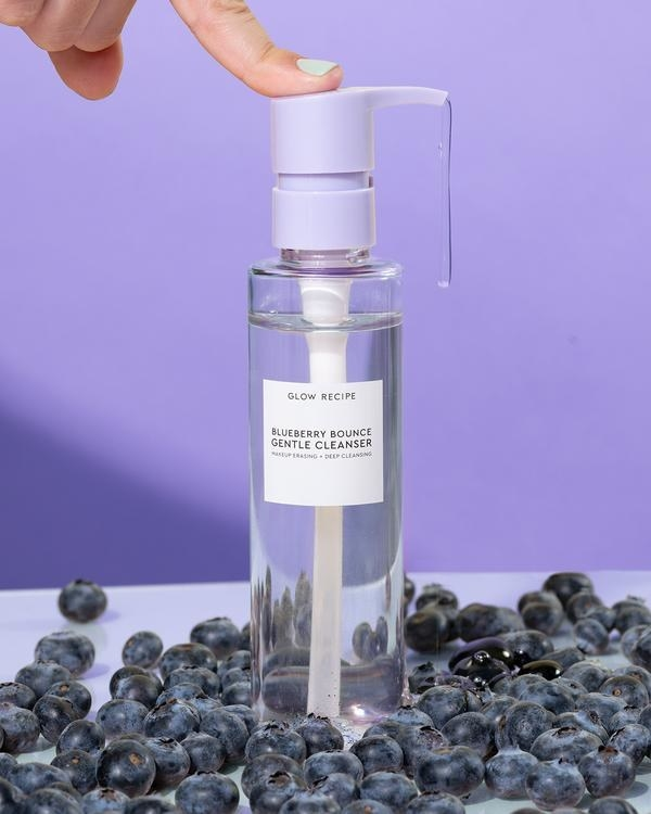 Cleanser inside clear bottle