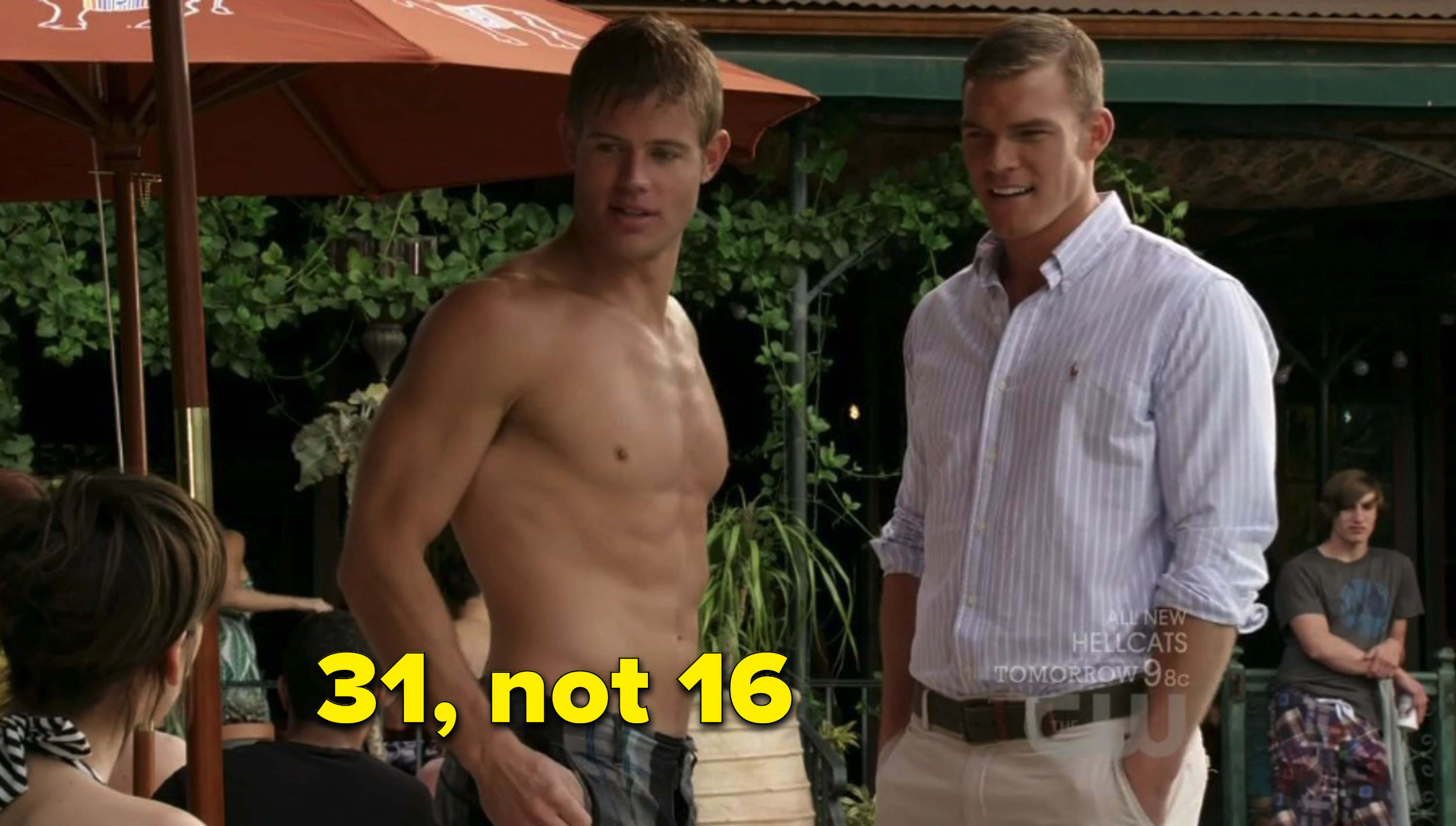 "Trevor Donovan shirtless by the pool in ""90210"""