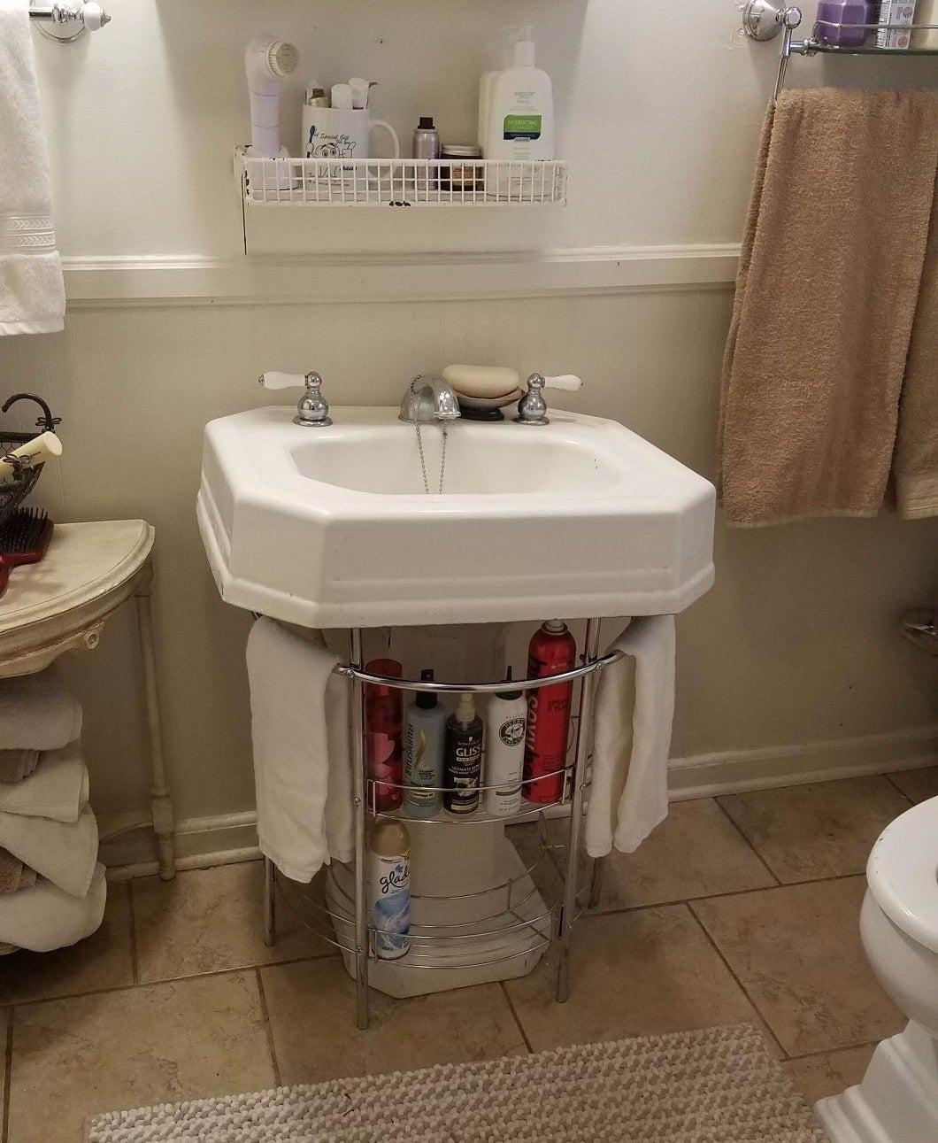 The organizer underneath a pedestal sink