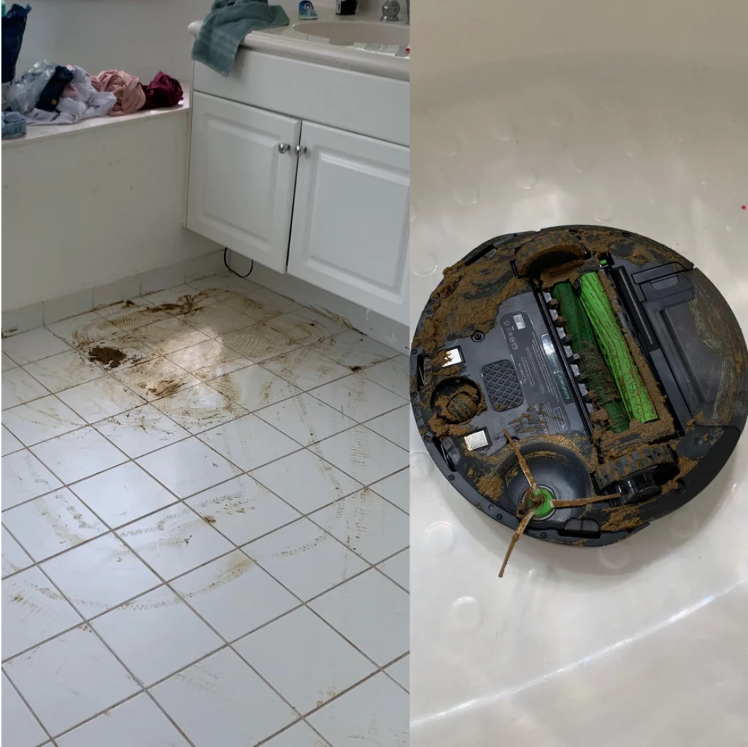 A Roomba with dog poop inside it
