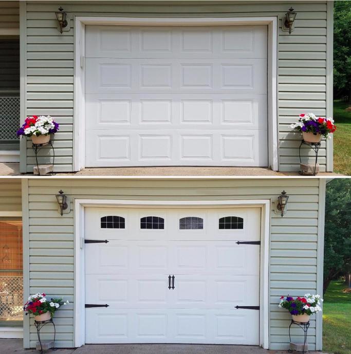 A plain garage door and then the same garage door with decorative hinges and windows