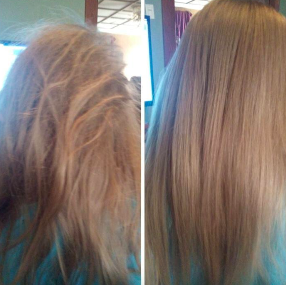 A customer review before and after photo showing their hair tangled and then smooth