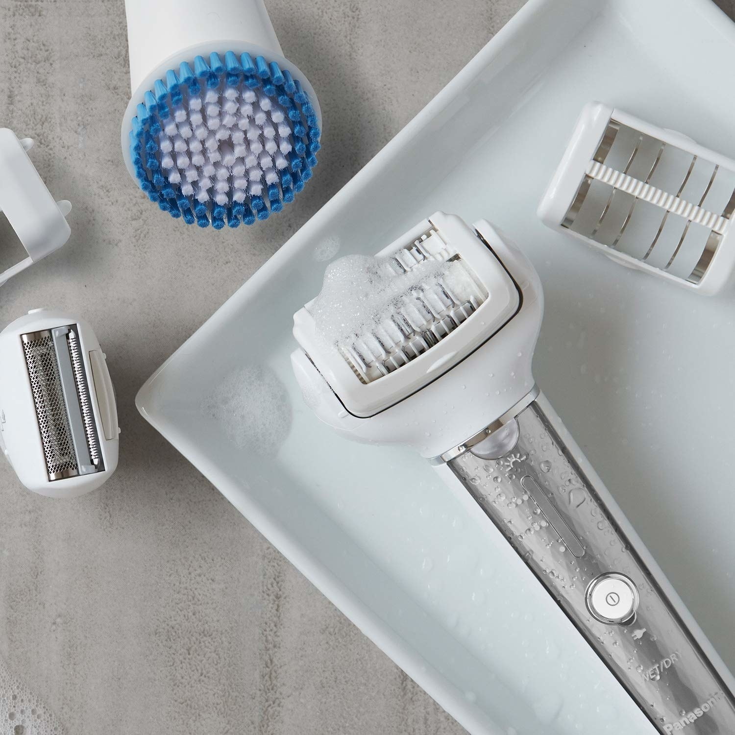 the epilator with a silver handle