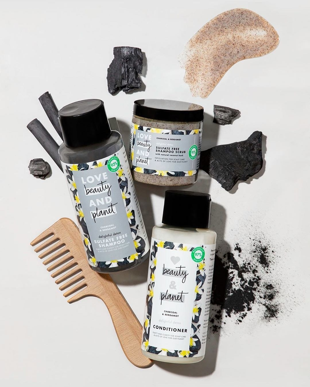 love beauty and planet's charcoal shampoo, conditioner and shampoo scrub