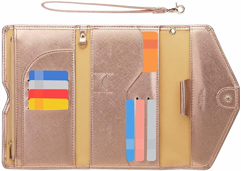 rose gold envelope wallet that snaps closed