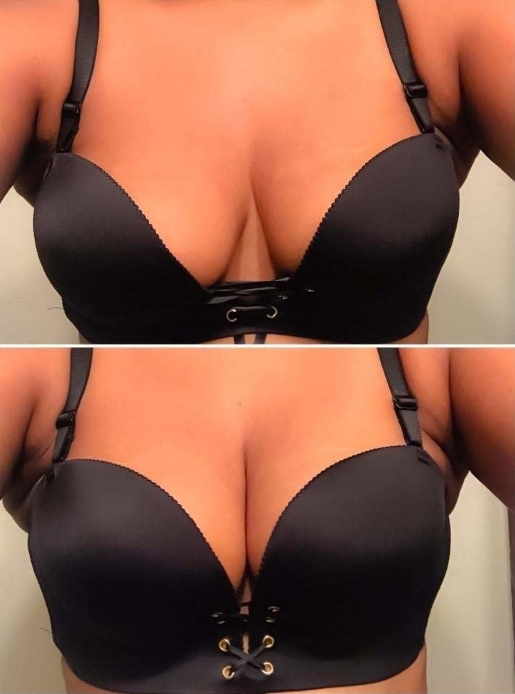 reviewer doing two fits of the bra: one with looser middle laces, and one with tighter ones