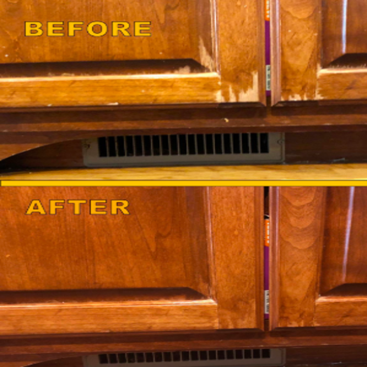 reviewer pic of scratched bad looking kitchen cabinets then them looking refreshed thanks to the wood polish with none of the scratches visible