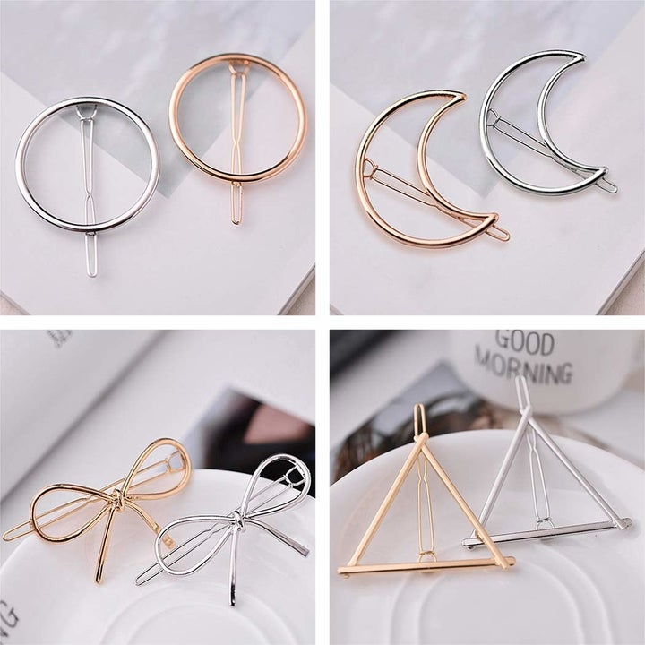The circle, crescent moon, bow, and triangle shaped clips each in silver and gold