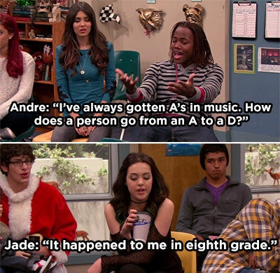 Jade making a joke about going from an A to a D in eighth grade