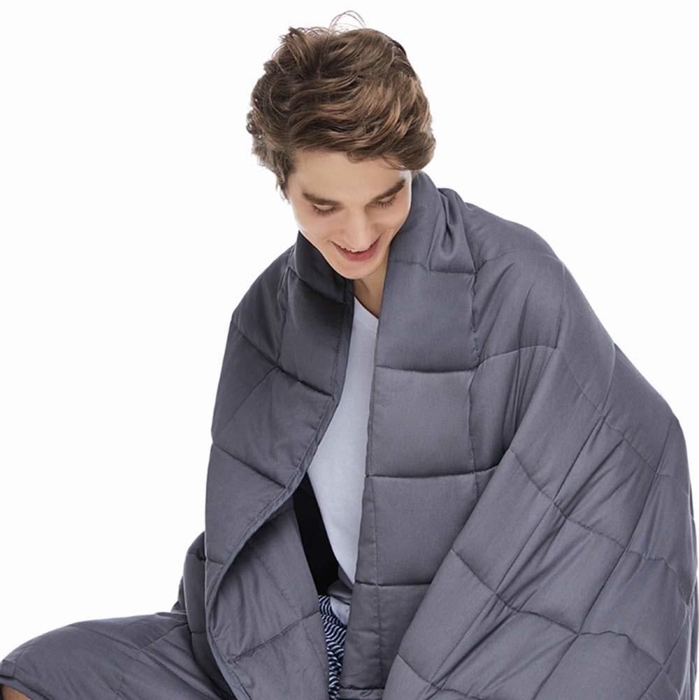 model wears blanket on shoulders