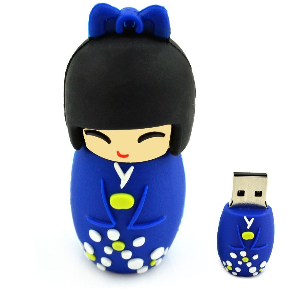 the flashdrive shaped like a traditional Japanese wooden doll in a kimono