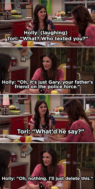 Tori's mom texting her husband's friend