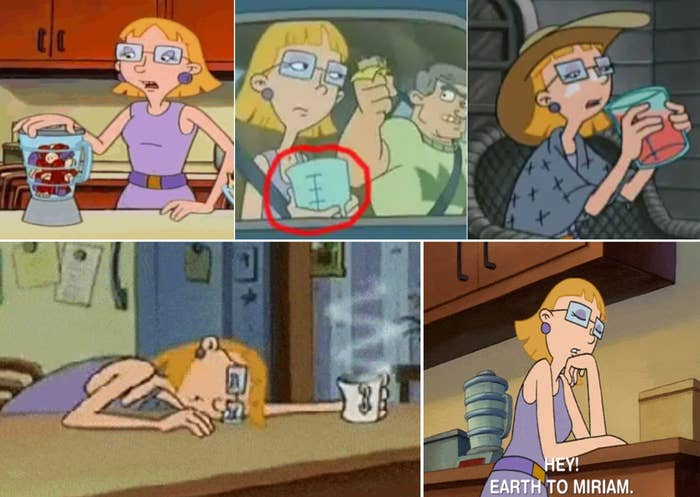 Multiple screenshots from the show showing Helga drinking something and always passed out