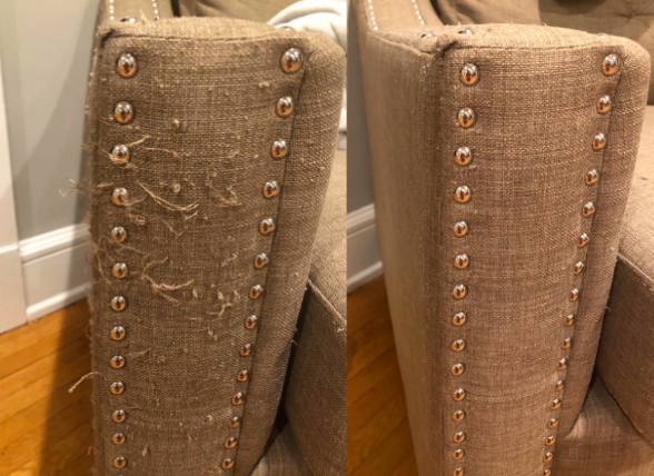 A reviewer's before-and-after image of the side of their sofa. The armrest was scratched with fabric pulled and after using the defuzzer it looks brand new.