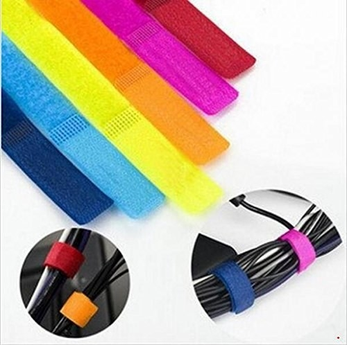 Various wires neatly organised using multicoloured cable ties