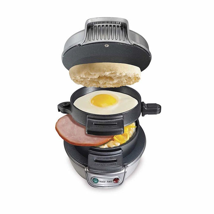 the breakfast sandwich maker with each compartment filled