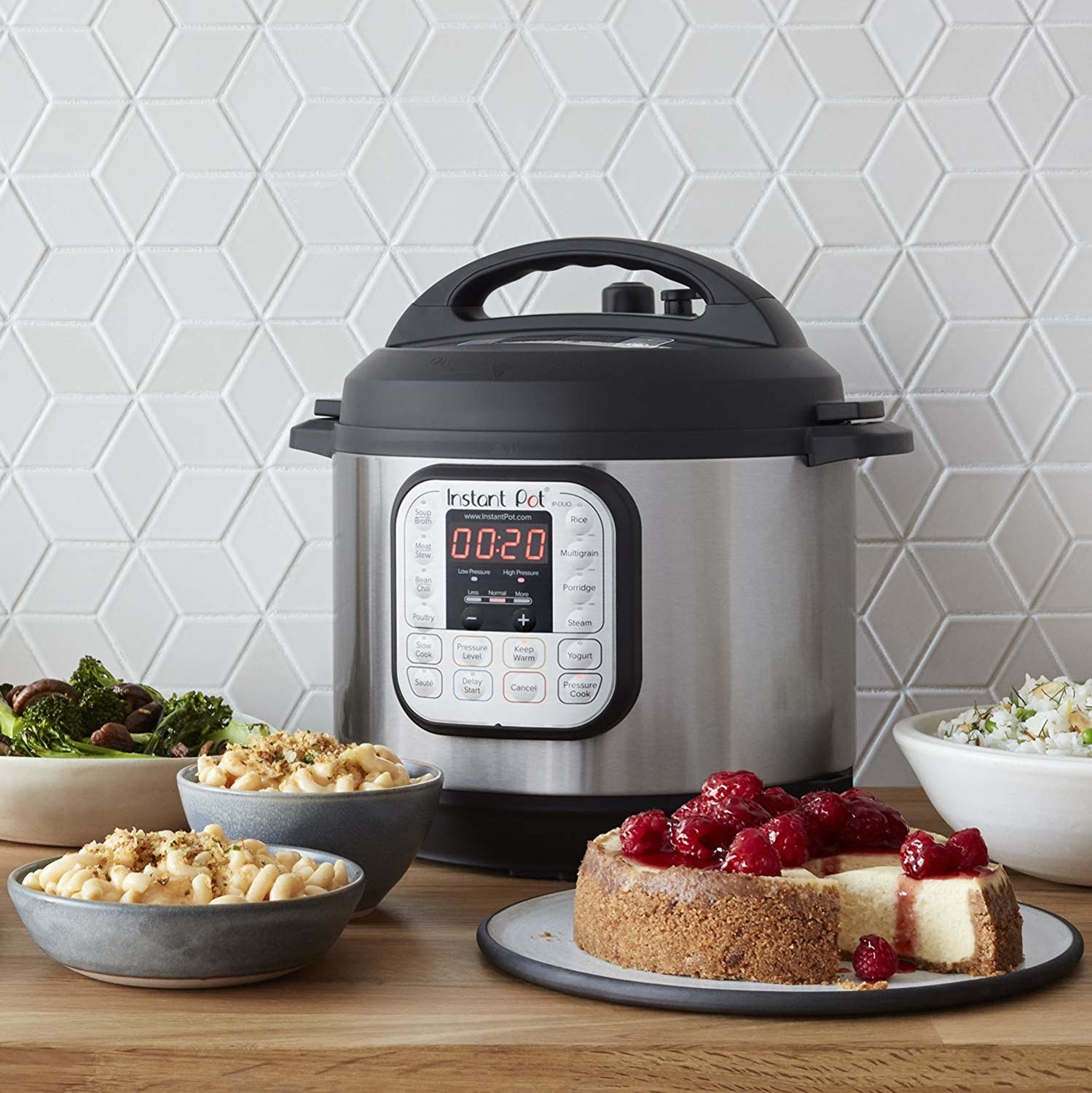 An Instant Pot surrounded by food