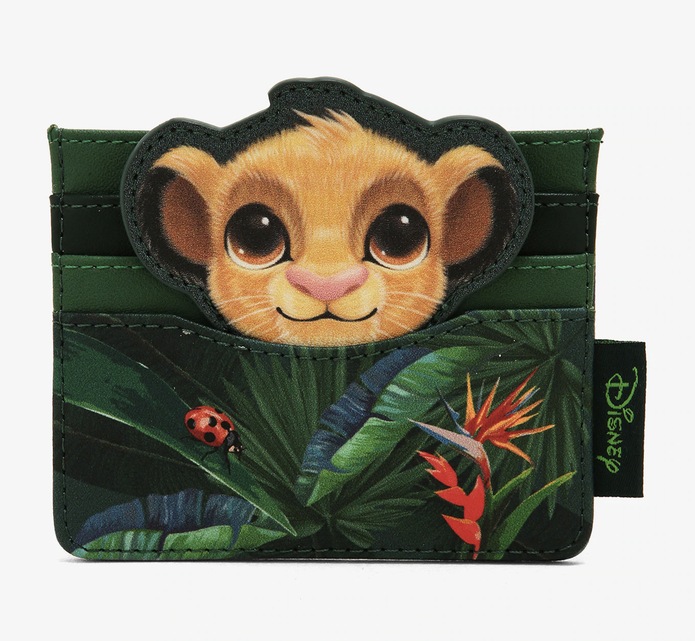 a jungle patterned billfold with baby simba's face on it